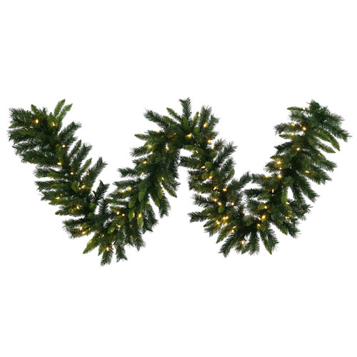 Green 9 Foot Imperial Pine LED Garland with 100 Warm White Lights