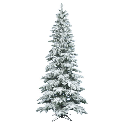 7.5 ft. x 3.5 ft. Flocked Utica Fir Tree with 1019 Tips