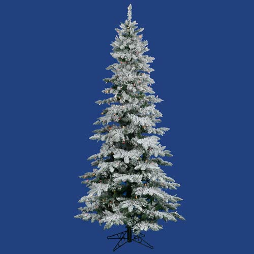 Flocked Utica Fir 7.5 Ft. Artificial Tree with 330 Multi Colored LED Lights