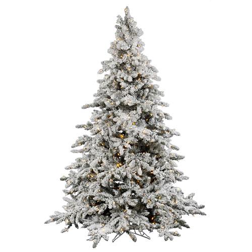 buy popular b29a3 43baf Flocked Utica Fir 9-Foot Christmas Tree w/1000 Warm White Italian LED  Lights and 2443 Tips