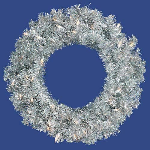 Vickerman Sliver 24-Inch Wreath with 50 Clear Dura-Lit Lights and 180 Tips