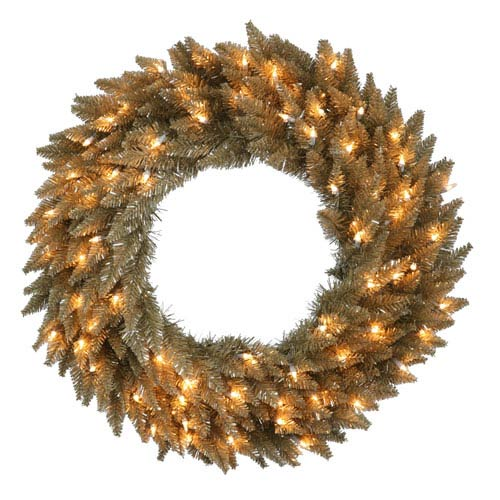 Antique Champagne 24-Inch Fir Wreath with 50 Clear Lights