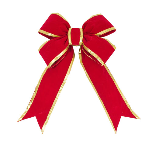 Red and Gold 12-Inch Velvet Indoor Bow