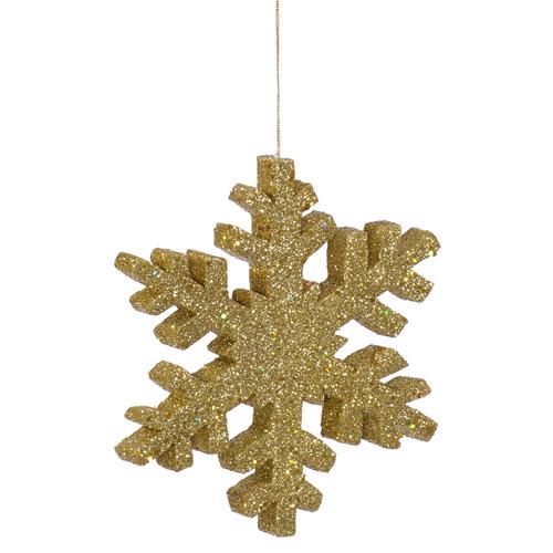 Gold Outdoor Glitter Snowflake Ornament