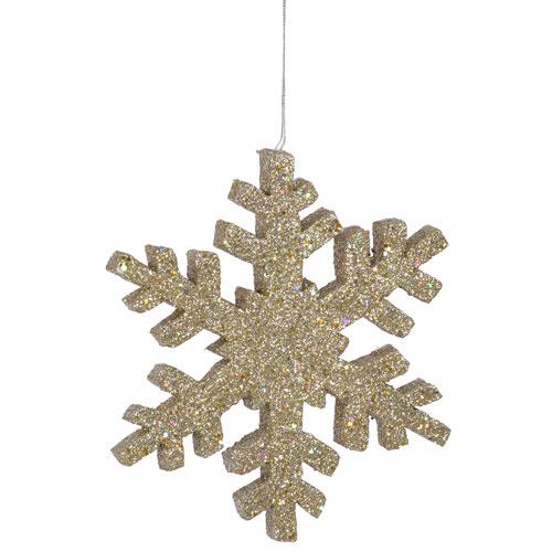 Champagne Outdoor Glitter Snowflake Ornament