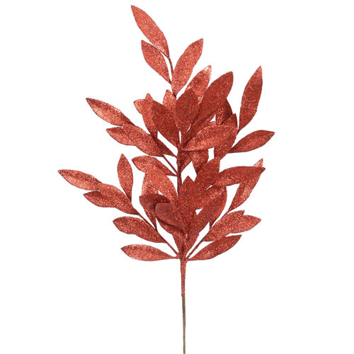 Red Glitter Bay Leaf Spray, Set of Six