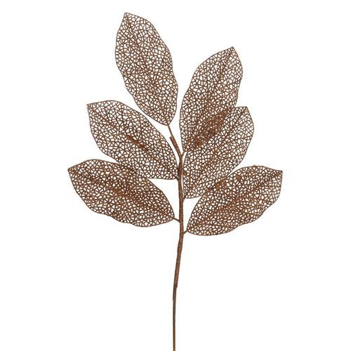 Copper Glitter Magnolia Spray, Set of Twelve