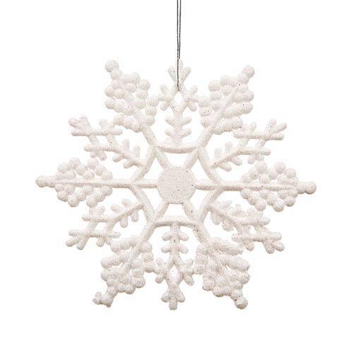 White Snowflake Ornament 4-inch, Set of 24