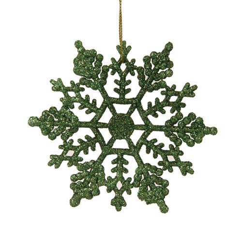 Vickerman Green Snowflake Ornament 4-inch