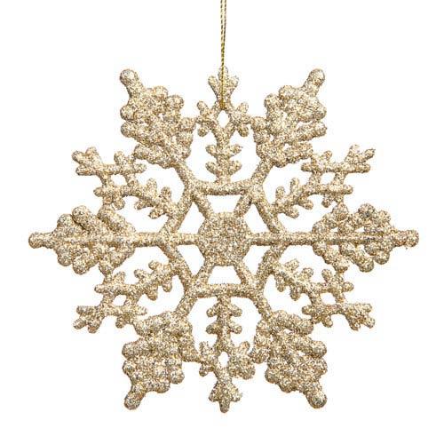 Vickerman Champagne Snowflake Ornament 4-inch