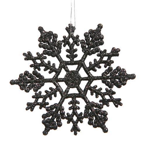 Vickerman Black Solid Color Snowflake Ornament 4-inch