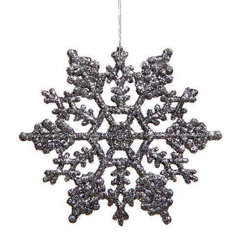 Pewter Solid Color Snowflake Ornament 4-inch