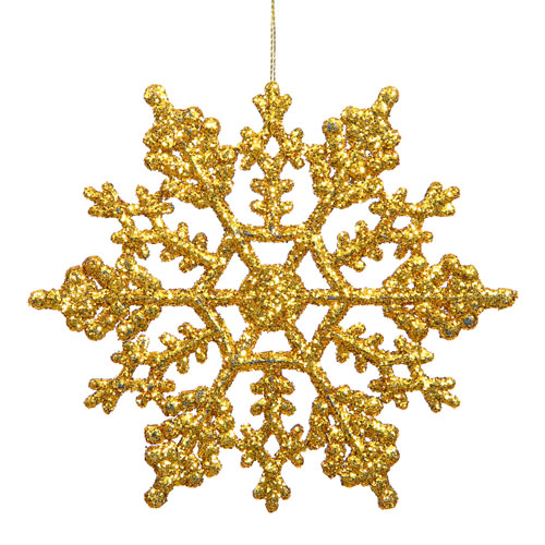 Vickerman Antique Gold Solid Color Snowflake Ornament 4-inch