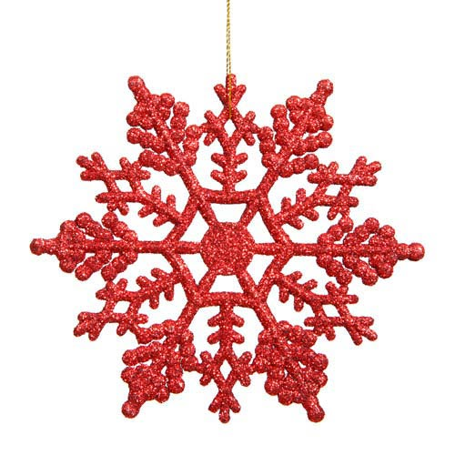 Red Snowflake Ornament 6.25-inch