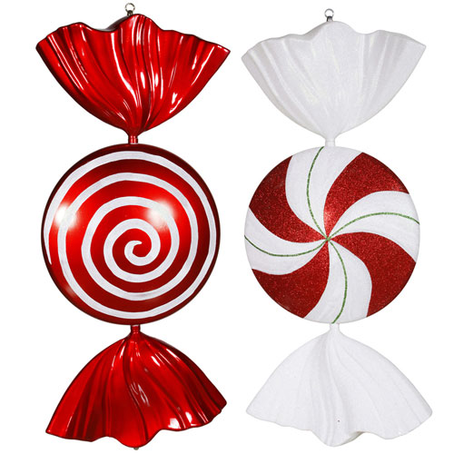 Peppermint Candy Assorted Ornament, Set of Two