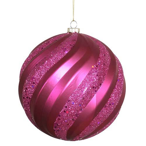 Vickerman Magenta Matte 6-Inch Glitter Swirl Ball Ornament