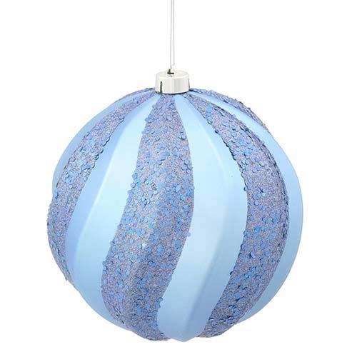 Vickerman Periwinkle Matte 8-Inch Glitter Swirl Ball Ornament
