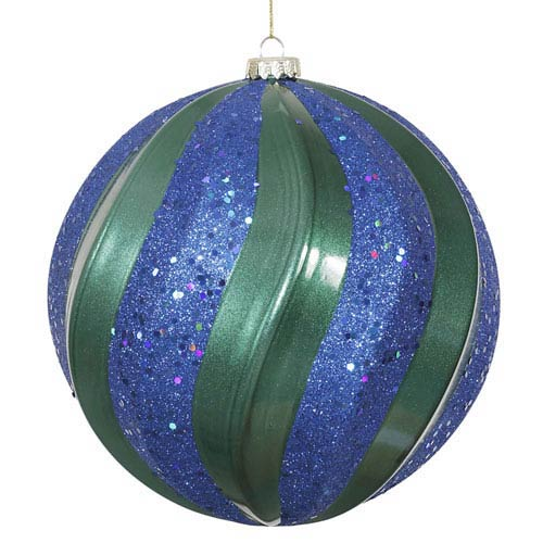 Teal and Sea Blue 8-Inch Matte and Glitter Swirl Ball Ornament