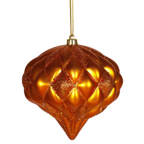 Vickerman Burnish Orange Diamond Ornament 5.7-inch