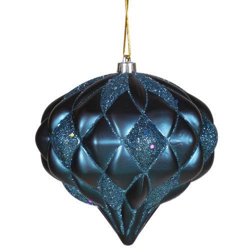 Vickerman Sea Blue Diamond Ornament 5.7-inch