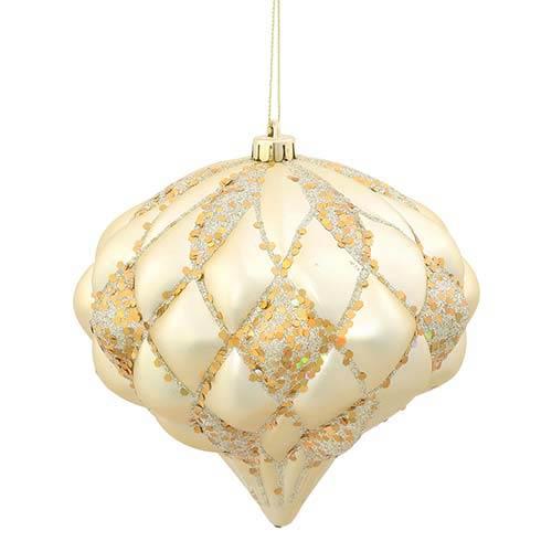 Champagne Matte 5.5-Inch Glitter Diamond Ornament