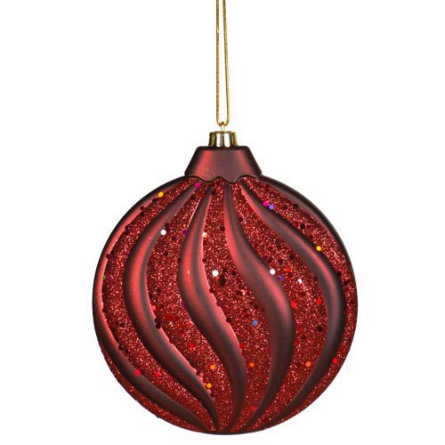Vickerman Burgundy Flat Ball Ornament 6-inch