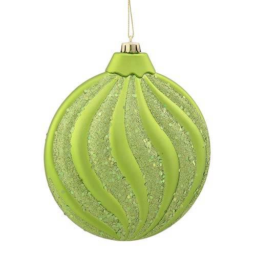 Lime Matte 6-Inch Glitter Flat Ball Ornament