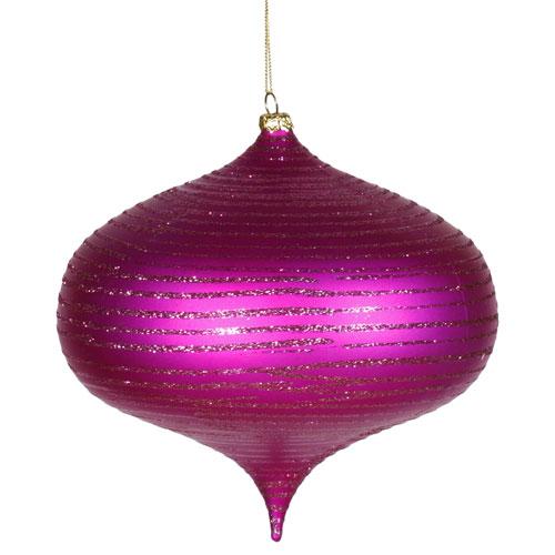 Vickerman Cerise Matte-Glitter Onion Ornament 6.3-inch
