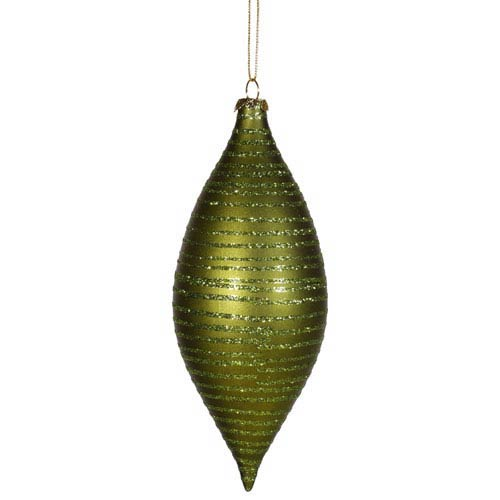 Vickerman Dark Olive Drop Ornament 7-inch