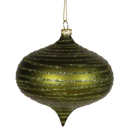 Vickerman Dark Olive Matte-Glitter Onion Ornament 4-inch