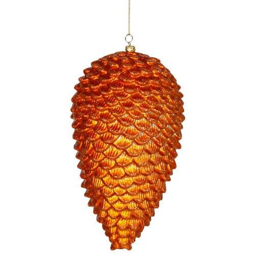 Burnish Orange Matte-Glitter Pinecone Ornament 10-inch