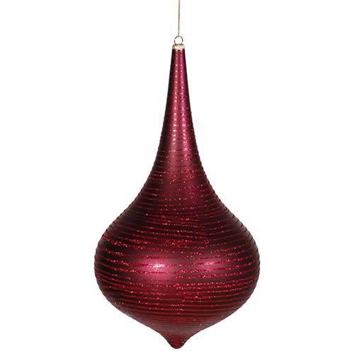 Vickerman Burgundy Matte 12-Inch Glitter Onion Drop Ornament