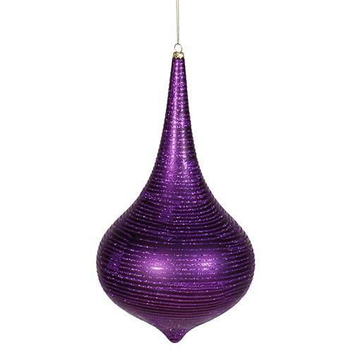Purple Matte 12-Inch Glitter Onion Drop Ornament