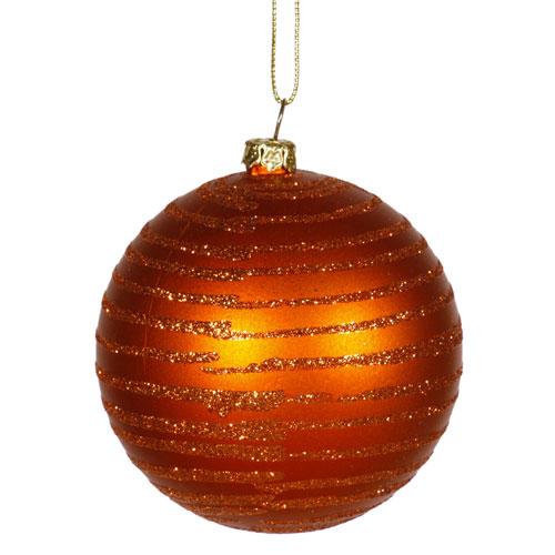 Vickerman Burnish Orange Matte and Glitter Ball Ornament 3-inch
