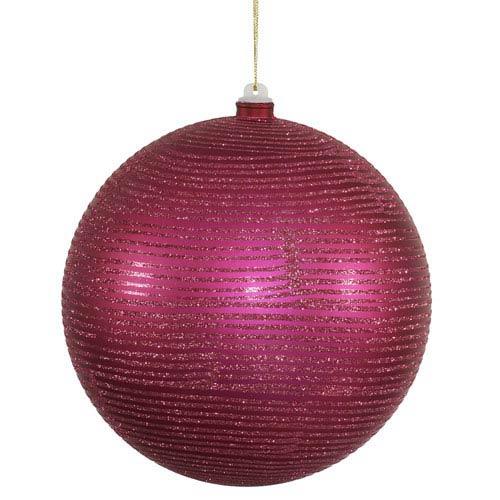 Magenta 8-Inch Matte and Glitter Ball Ornament