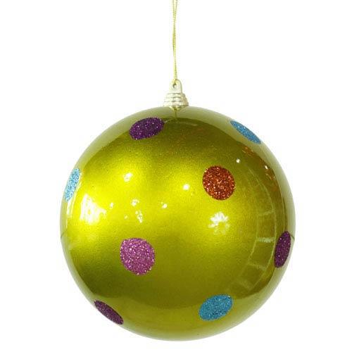 Vickerman Lime 5.5-inch Candy Polka Dot 6/Box Ball Ornament 140mm