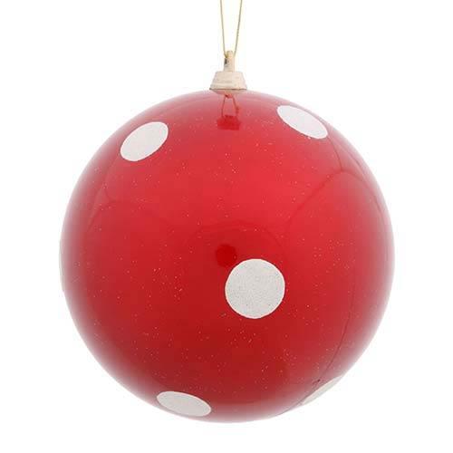 Vickerman Red 8-Inch Candy Polka Dot Ball Ornament