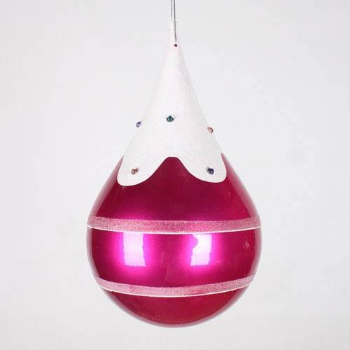 Candy Cerise 7-Inch Snow Jewel Teardrop Ornament