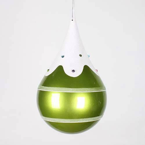 Vickerman Lime 7-Inch Candy Snow Jewel Teardrop Ornament
