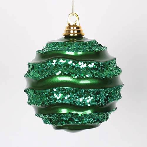 Vickerman Green 6-Inch Candy Glitter Wave Ball Ornament