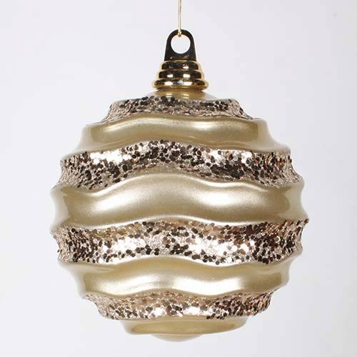 Vickerman Champagne 6-Inch Candy Glitter Wave Ball Ornament