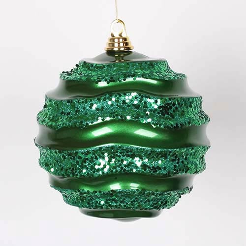 Vickerman Green 8-Inch Candy Glitter Wave Ball Ornament