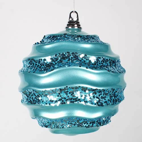 Vickerman Teal 8-Inch Candy Glitter Wave Ball Ornament