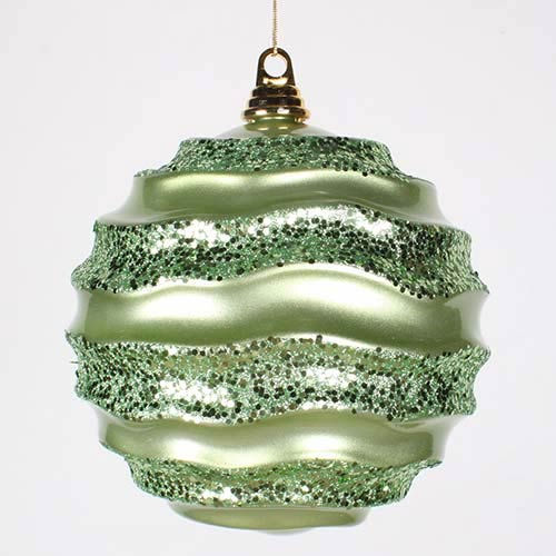 Vickerman Celadon Green 8-Inch Candy Glitter Wave Ball Ornament