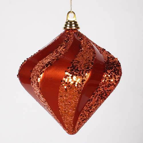 Vickerman Orange 8-Inch Candy Glitter Swirl Diamond Ornament