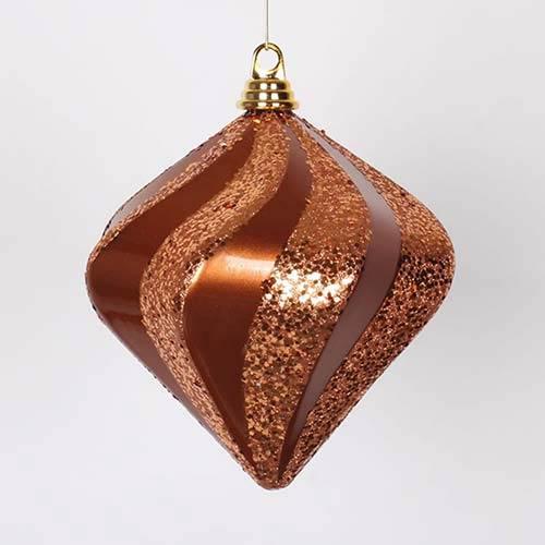 Vickerman Copper 8-Inch Candy Glitter Swirl Diamond Ornament