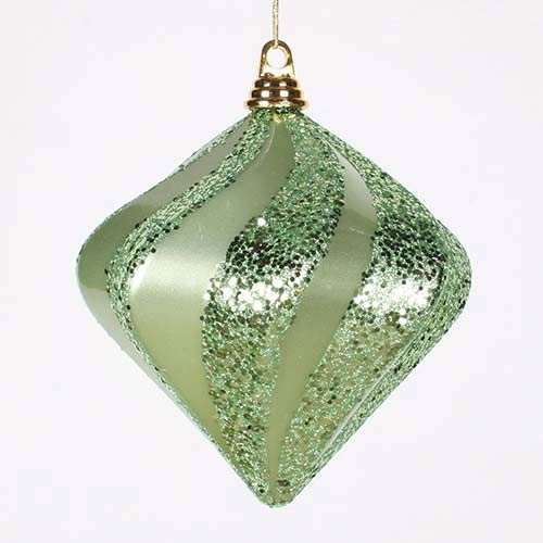 Vickerman Celadon 8-Inch Candy Glitter Swirl Diamond Ornament