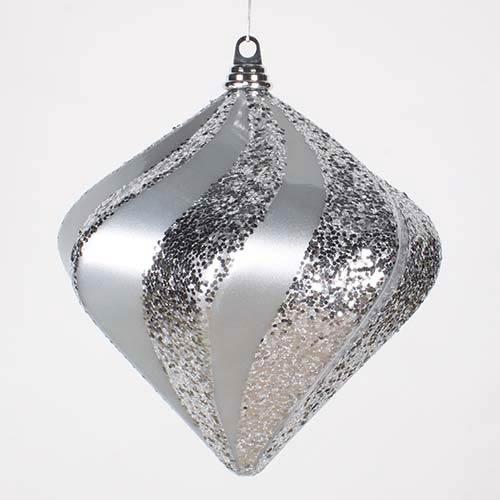 Vickerman Silver 10-Inch Candy Glitter Swirl Diamond Ornament