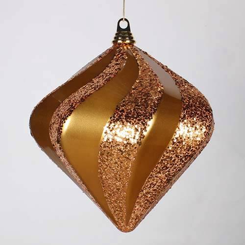 Antique Gold 10-Inch Candy Glitter Swirl Diamond Ornament