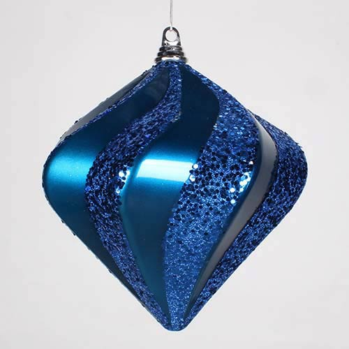 Sea Blue 10-Inch Candy Glitter Swirl Diamond Ornament